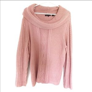 NWT Light pink cable knit sweater cowl neck